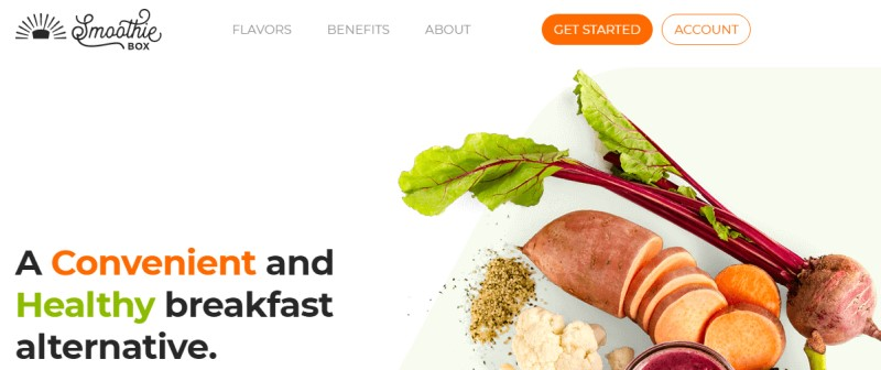 screenshot of the smoothiebox website