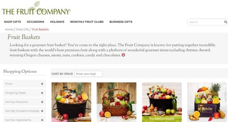 screenshot of the fruit company website
