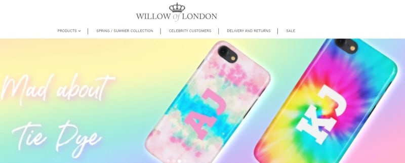 screenshot of the willow of london website