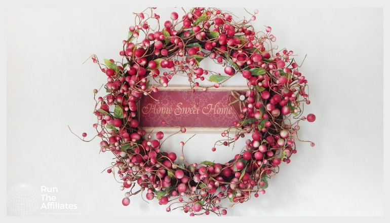 hanging wreath made of red berries