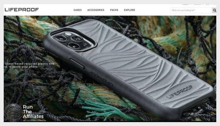 screenshot of the lifeproof website featuring a grey protective smartphone case