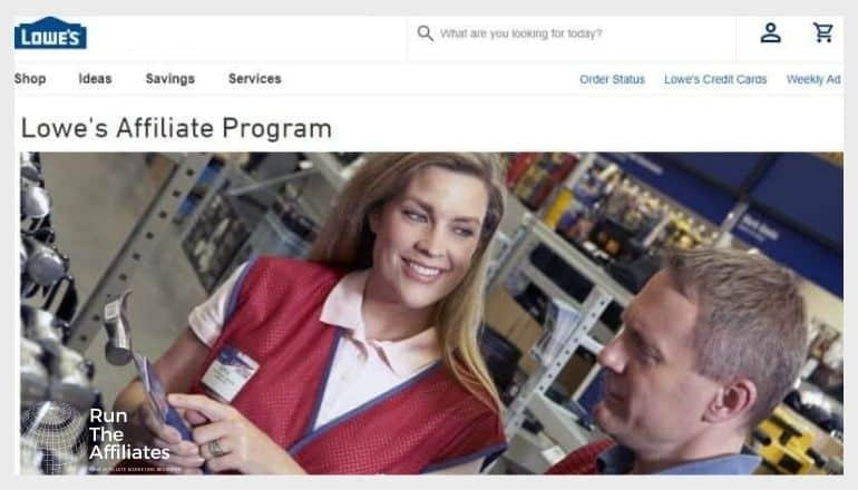 screenshot of the lowes affiliate prgoram