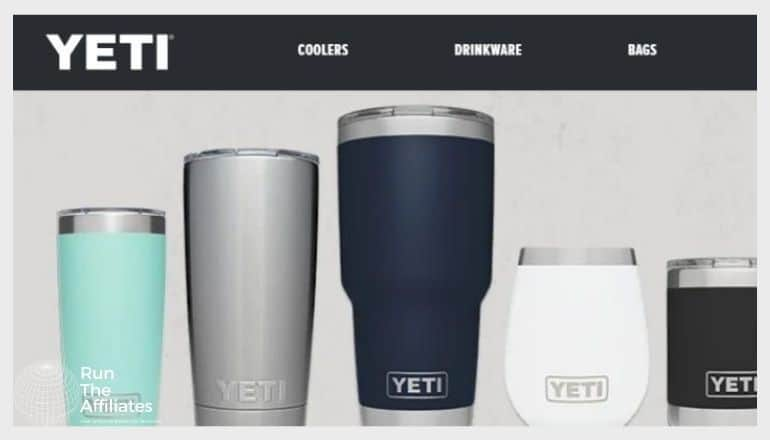 YETI tumblers lined up. In various colors