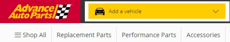 screenshot of the advance auto parts website