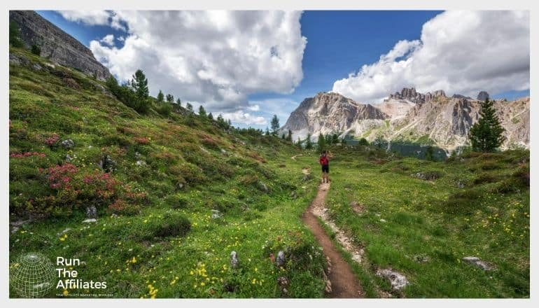 man hiking through field of yellow and red flowers with mountains in the background against a blue sky