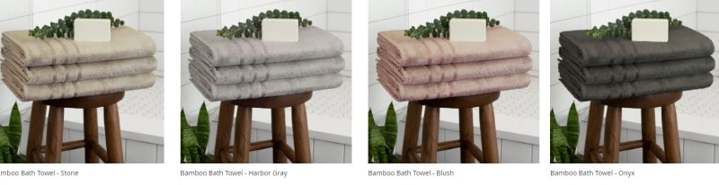 cariloha bamboo towels in a variety of colors