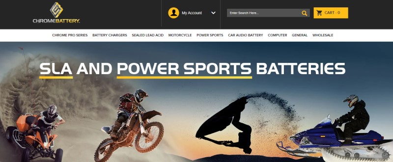 screenshot of the chrome battery website featuring various recreational vehicles in action