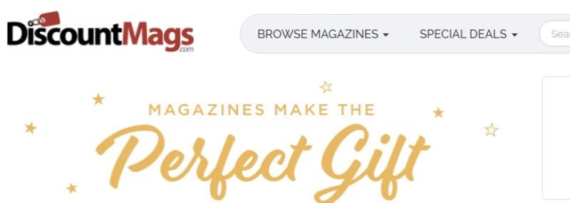 screenshot of the discount mags website