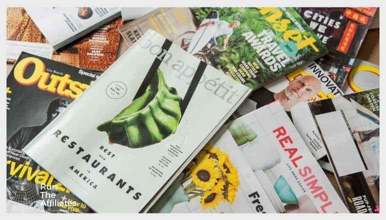 magazines covering a table