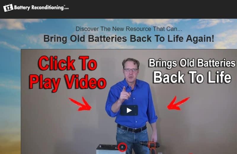 screenshot of the ez battery recondition website