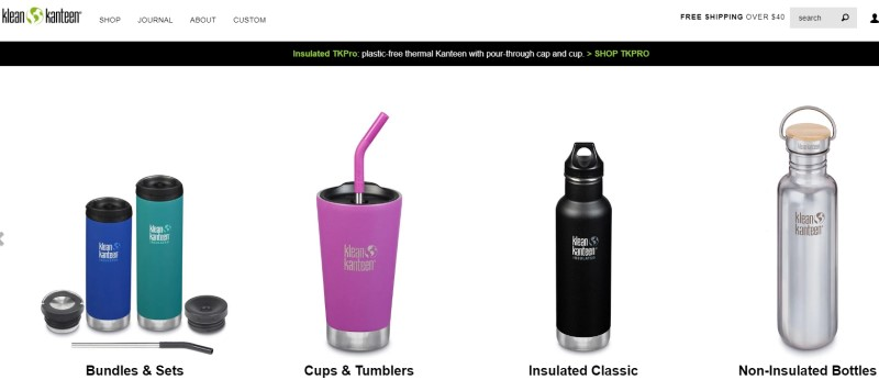 screenshot of the klean kanteen website featuring some of their water bottle products