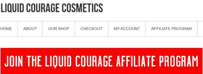 screenshot of the liquid courage affiliate program website