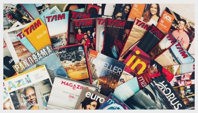 magazines arranged on a table photographed from above