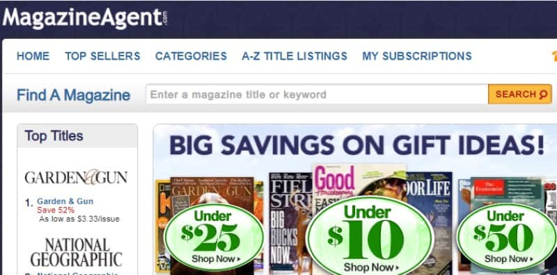 screenshot of the magazine agent website