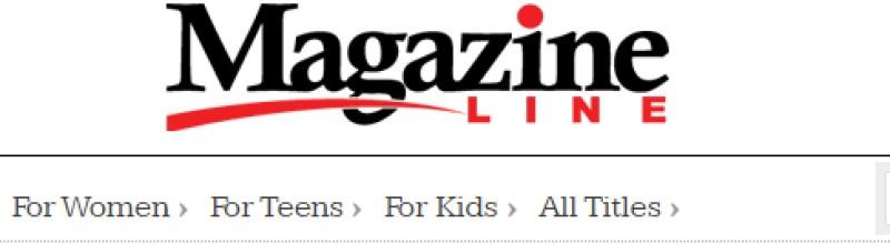 screenshot of the magazine line website