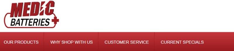 screenshot of the medic batteries website