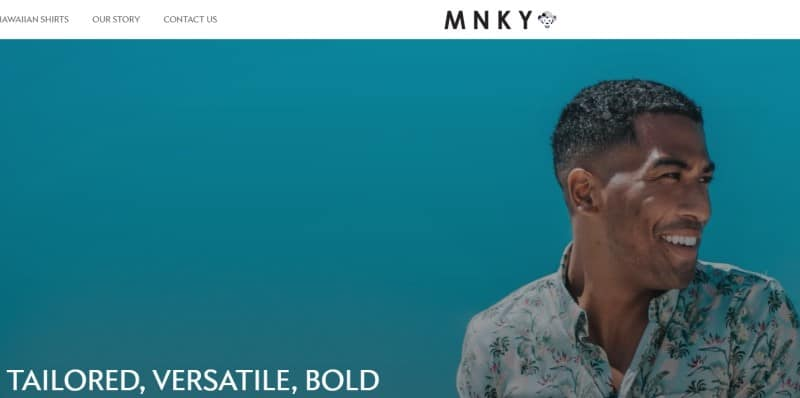 screenshot of the mnky website