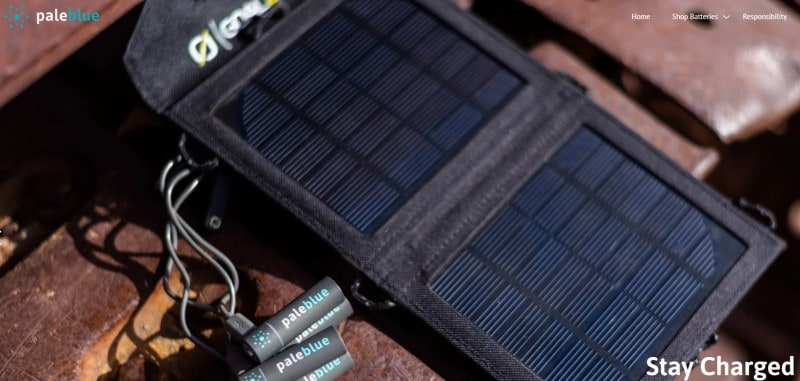 screenshot of paleblue website featuring pale blue batteries and a solar charging dock