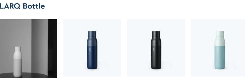larq water bottles in various colors