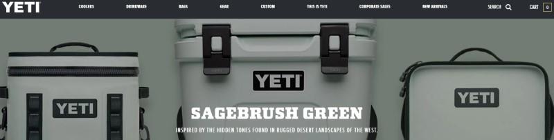screenshot of the YETI website