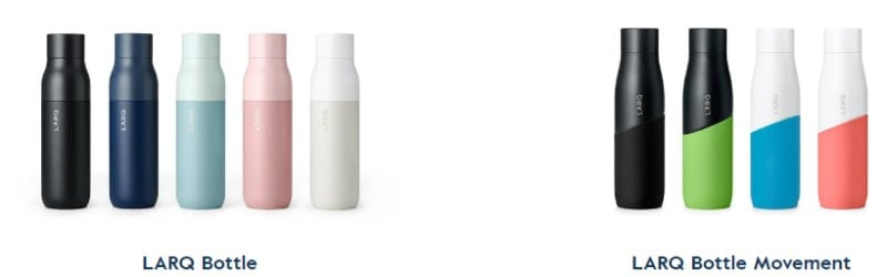screenshot showing larq water bottles and the larq movement line of water bottles