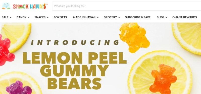 screenshot of the snack hawaii website