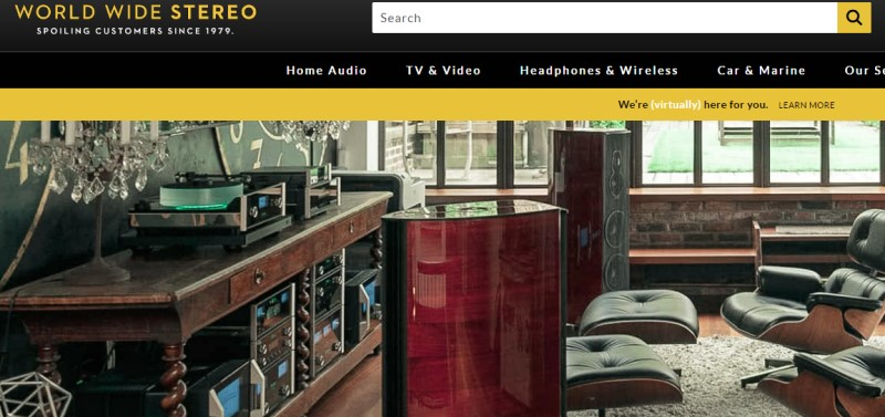 screenshot of the world wide stereo website