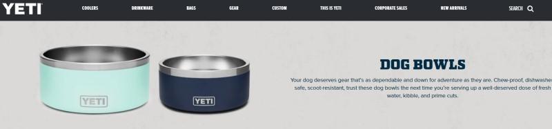 screenshot of the YETI website featuring YETI dog bowls