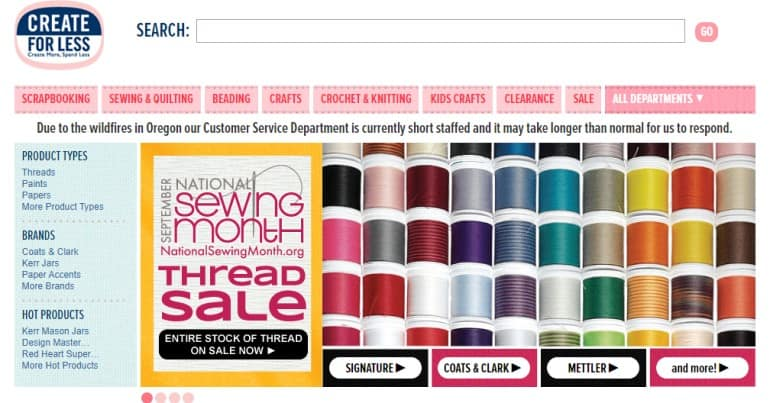 create for less screenshot featuring rolls of sewing thread