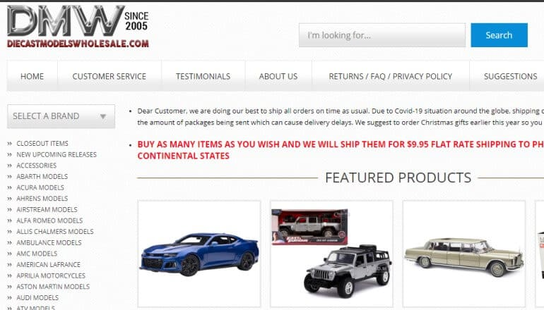 screenshot of the diecast models wholesale website