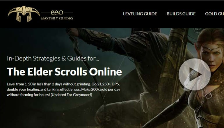 screenshot of the eso mastery guides website