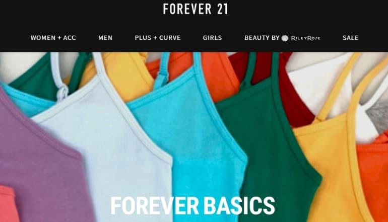 screenshot of the forever 21 website