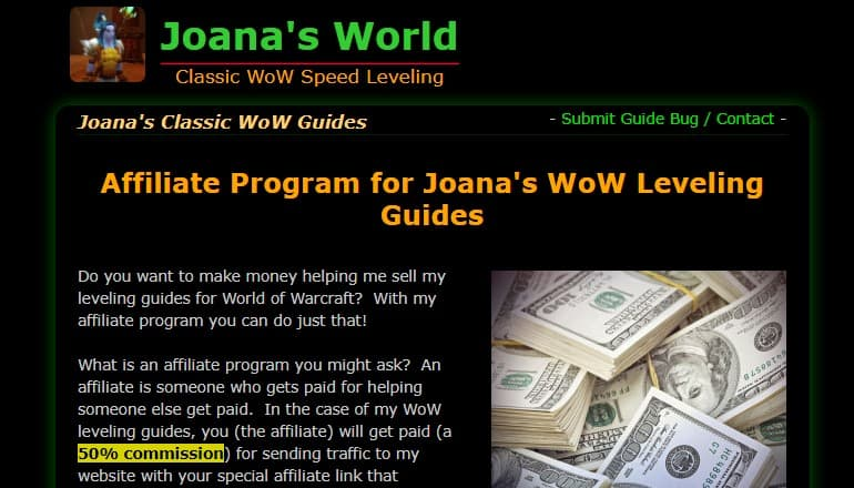 screenshot of the Joanas 1-60 Classic Wow Leveling Guides affiliate website