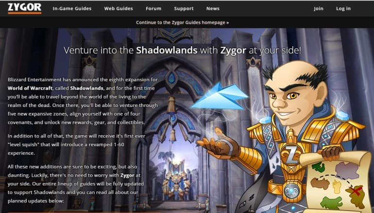 screenshot of the Zygor WoW guides website