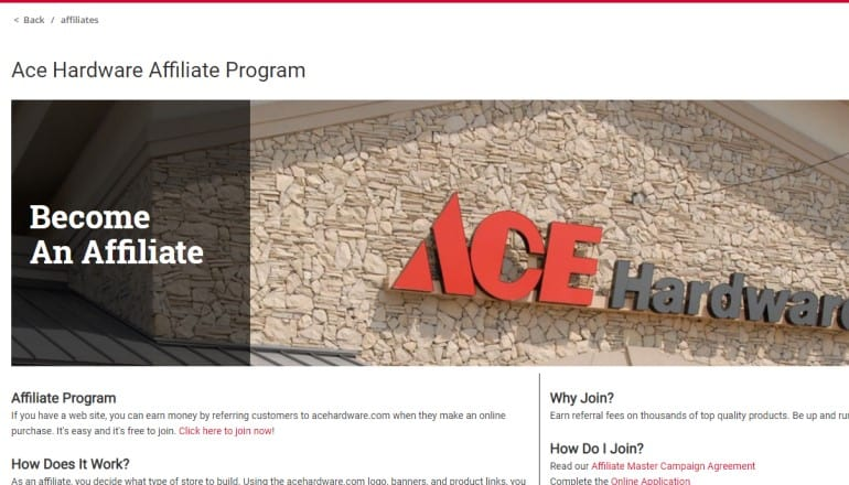 screenshot of the ace hardware affiliate program webpage