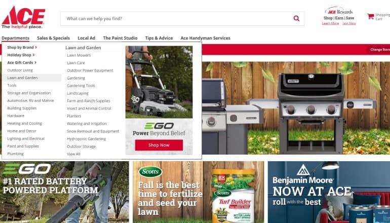 screenshot of the ace hardware website