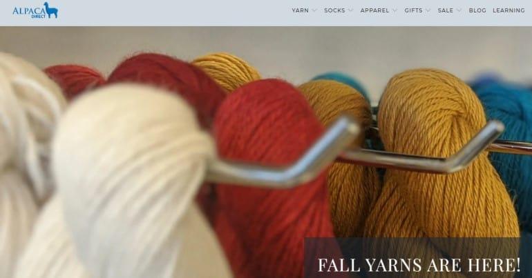screenshot of the alpaca direct website