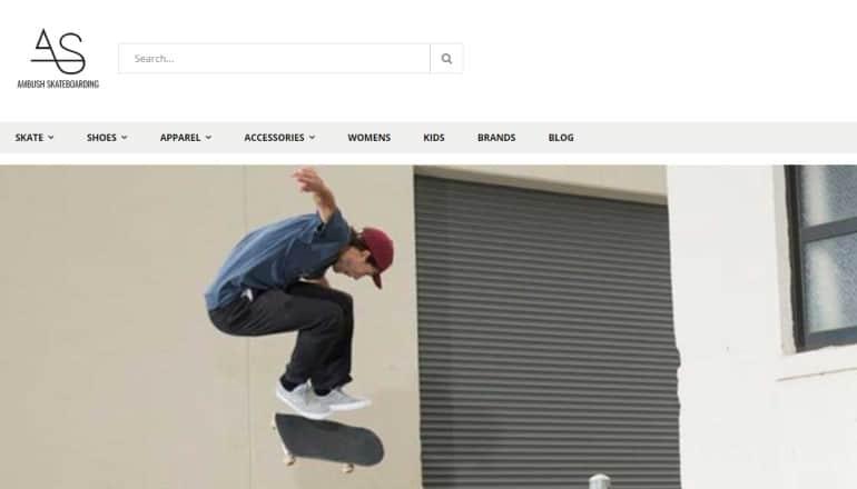 screenshot of the ambush skateboarding website