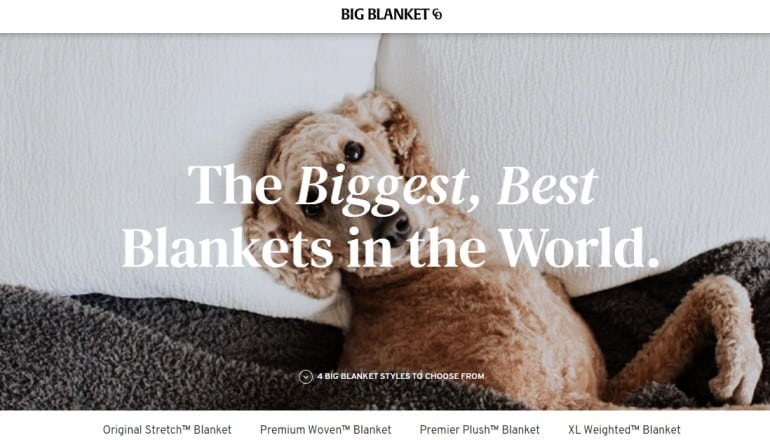 screenshot of the big blanket website