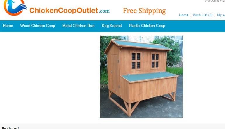 screenshot of the chicken coop outlet website