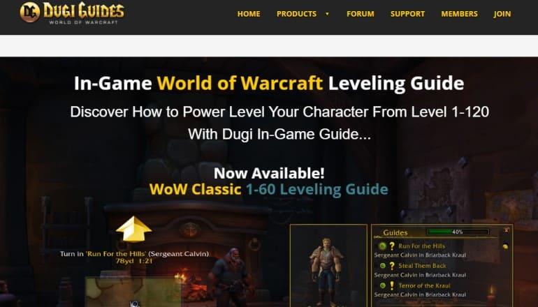 screenshot of the Dugi guides website