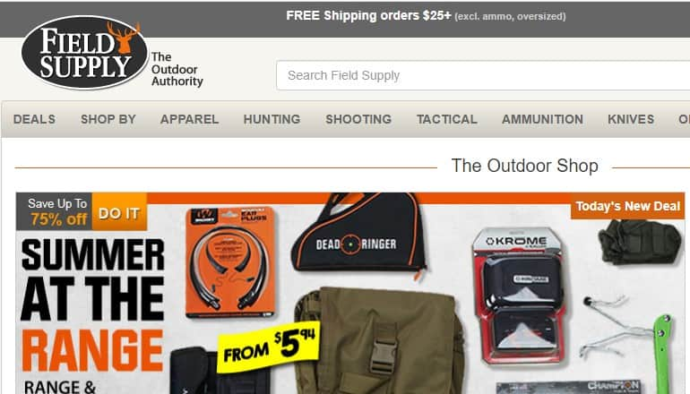 screenshot of the field supply website