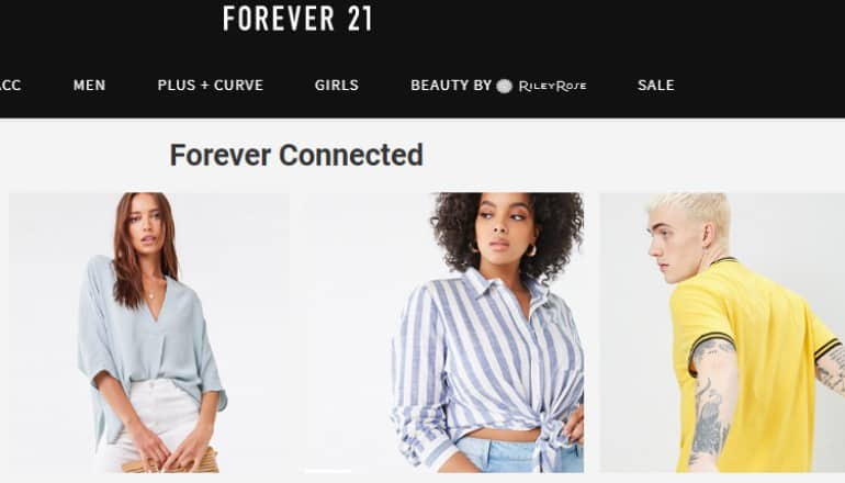 schreenshot of forever 21 website featuring models wearing some of the forever 21 product line