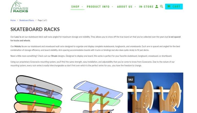 screenshot of the grassracks website