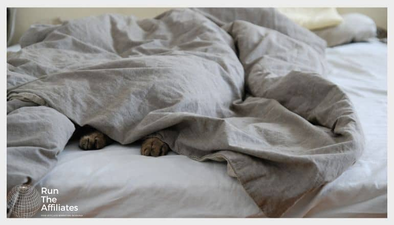 image of a blanket on a bed with a puppy underneath with its paws sticking out