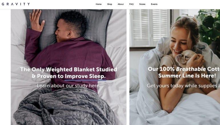 screenshot of the gravity blankets website