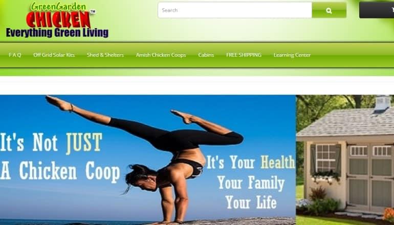 screenshot of the green garden chicken website