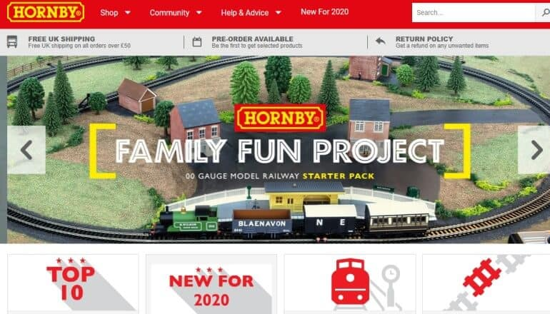 screenshot of the Hornby website