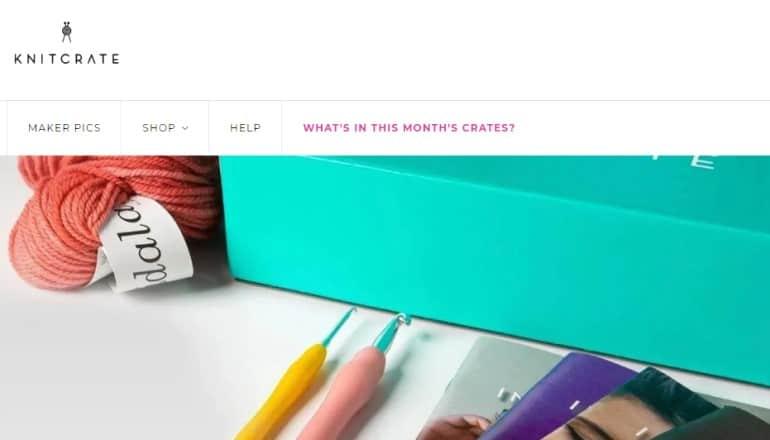 screenshot of the knitcrate website