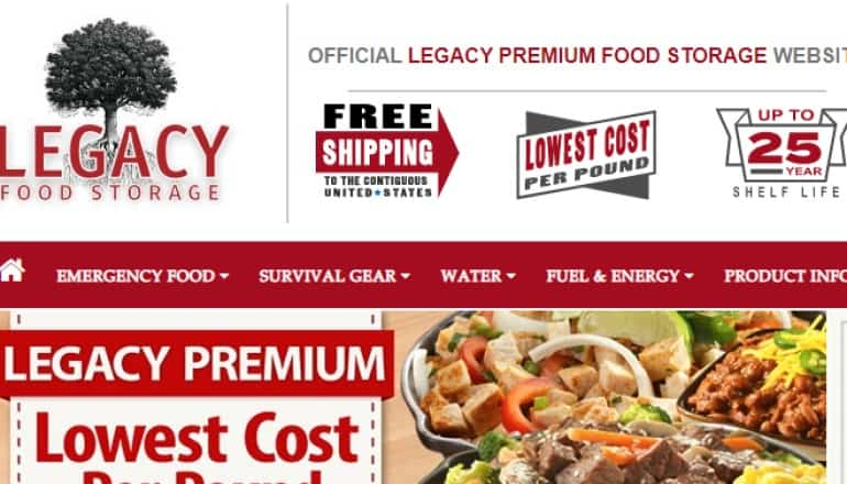 screenshot of the legacy food storage website